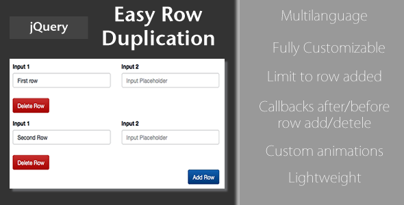 CodeCanyon easy Row Duplication jQuery Plugin 10756407