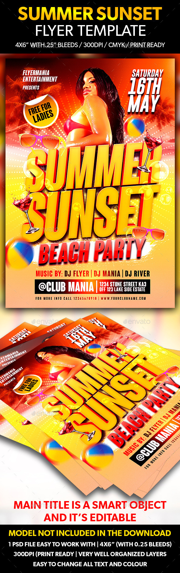 GraphicRiver Summer Sunset Flyer Template 10770835