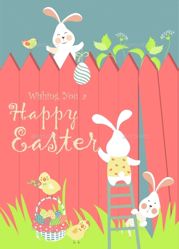 GraphicRiver Easter Bunnies and Easter Eggs 10771245