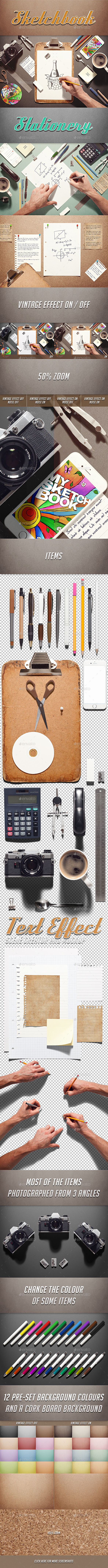 GraphicRiver Sketchbook Stationery Scene Creator 10771319