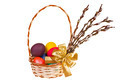 Easter palm catkins and basket with Easter eggs isolated on white background - PhotoDune Item for Sale
