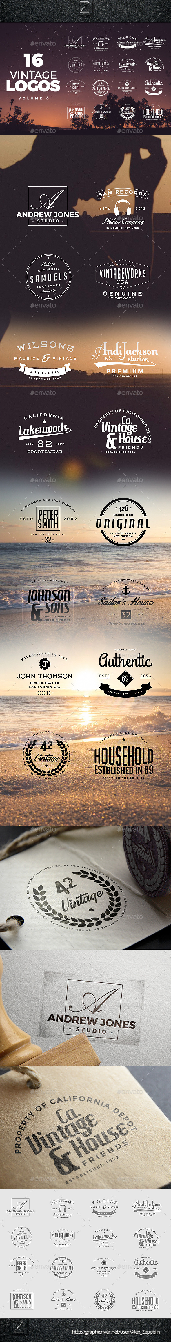 GraphicRiver Vintage Logos Set 6 10771411