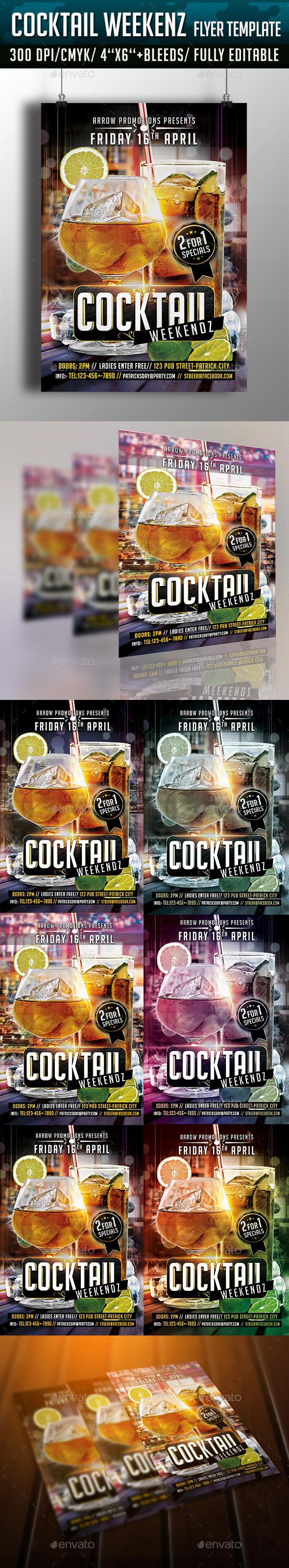GraphicRiver Cocktail Weekends Flyer Template 10771422