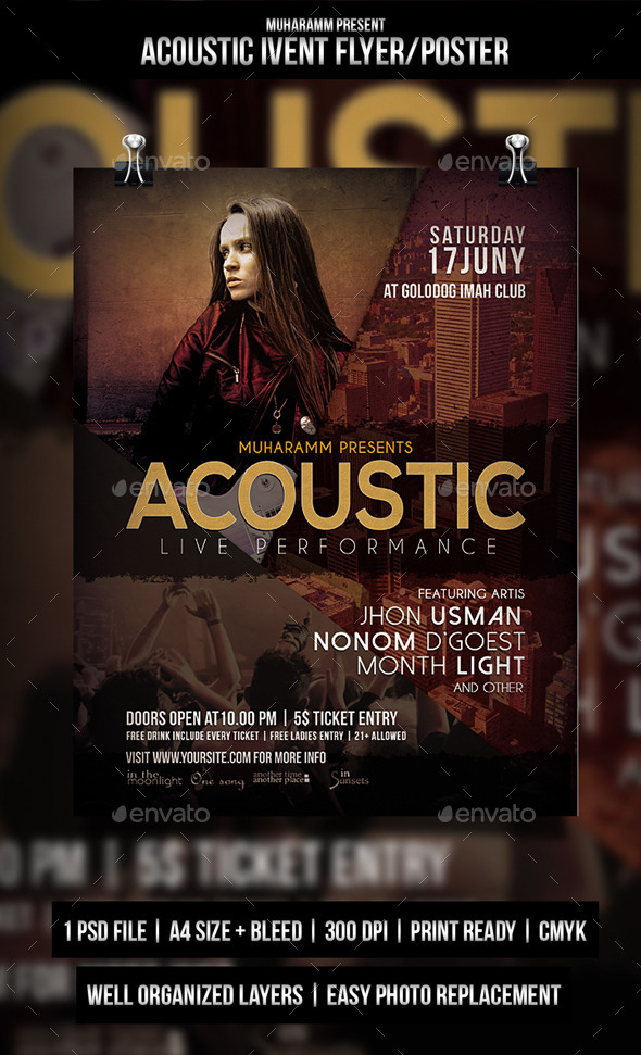 GraphicRiver Acoustic Music Flyer Poster 10705068
