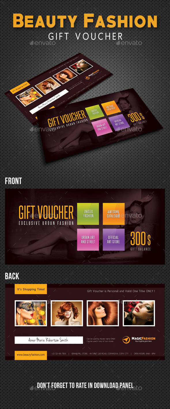 GraphicRiver Beauty Fashion Gift Voucher V06 10771726