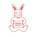 Cute Rabbit with Banner Drawing - PhotoDune Item for Sale