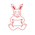 Cute Rabbit with Empty Banner Drawin - PhotoDune Item for Sale