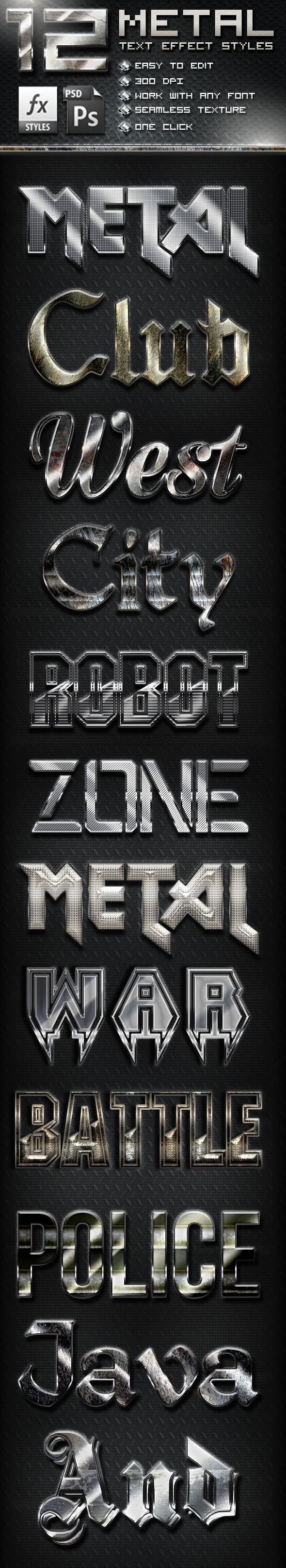 GraphicRiver 12 Metal Photoshop Text Effect Styles 10772165