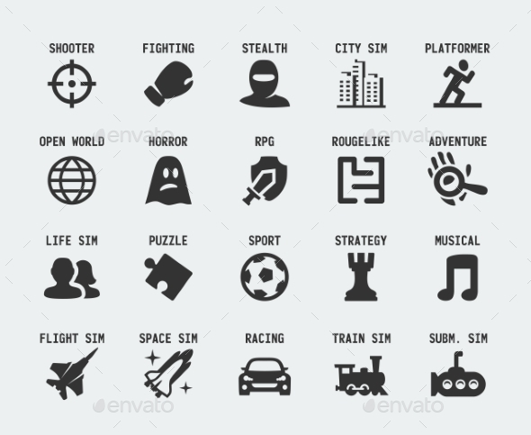 GraphicRiver Video Game Genres Vector Icons Set 10772376
