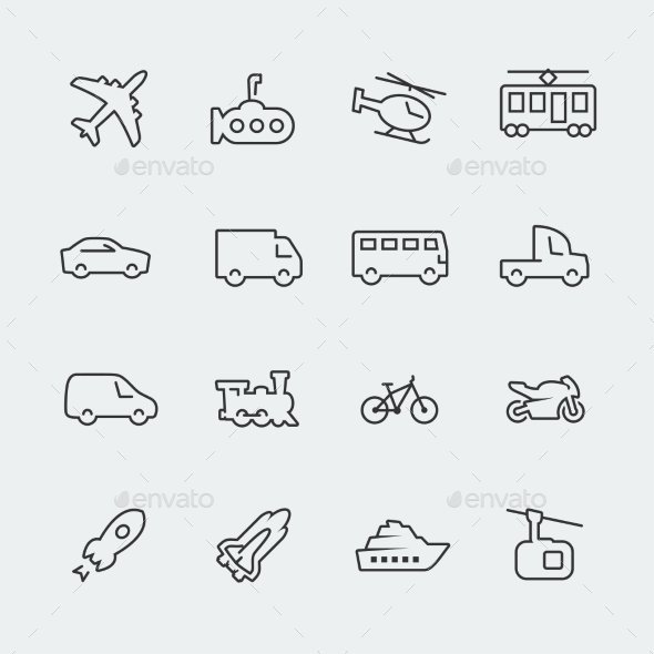 GraphicRiver Transport vector icons set thin line 10772397