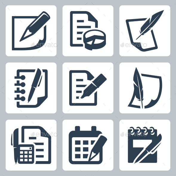 GraphicRiver Paper Document Vector Icons Set 10772432