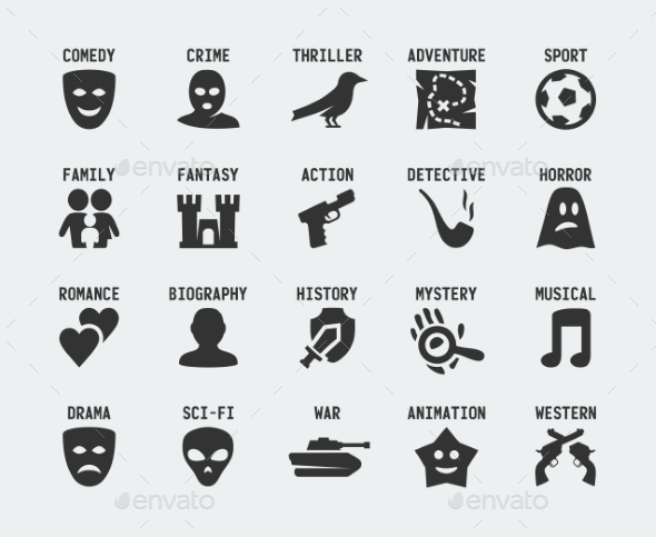GraphicRiver Film genres vector icon set 10772464