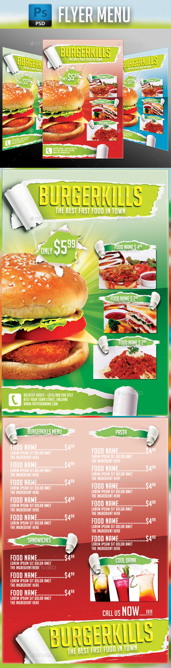 GraphicRiver Fast Food Flyer 10772921