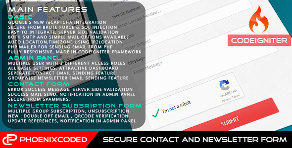 CodeCanyon CodeIgniter Secure Contact and Newsletter Form 10635431