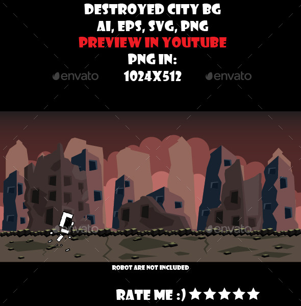 GraphicRiver Destroyed city BG 10774568