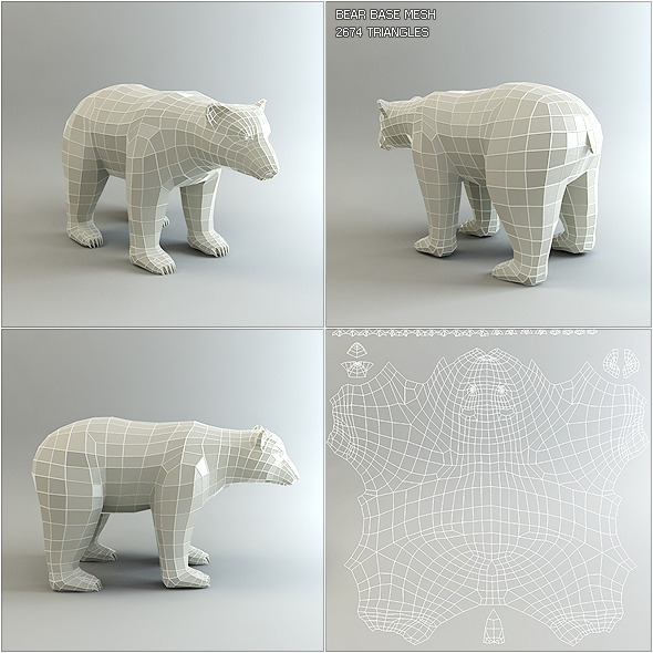 3DOcean Low Poly Base Mesh Bear 1082425