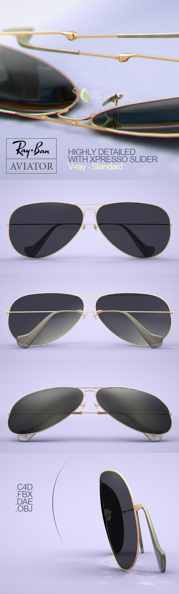 3DOcean Rayban Aviator Sunglasses 10774810