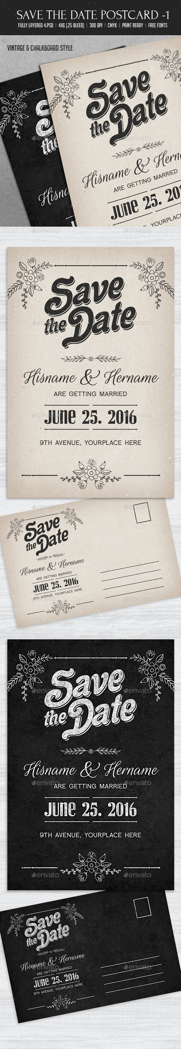 GraphicRiver Save The Date Postcard 1 10718736