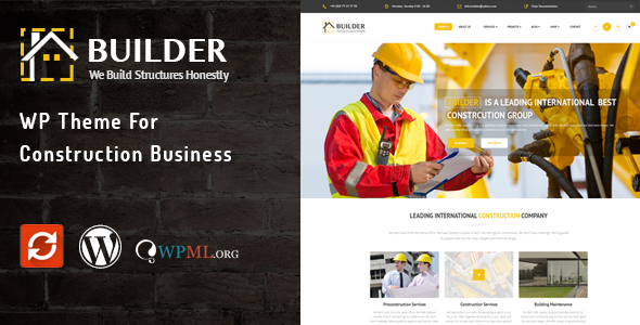 builder wordpress theme for construction business