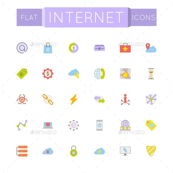 GraphicRiver Vector Flat Internet Icons 10776107
