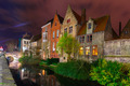 Cityscape with the picturesque night canal in Bruges - PhotoDune Item for Sale