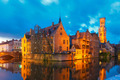 Cityscape with a tower Belfort from Rozenhoedkaai in Bruges at s - PhotoDune Item for Sale