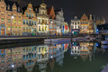 Quay Korenlei with reflections in Ghent town at night, Belgium - PhotoDune Item for Sale
