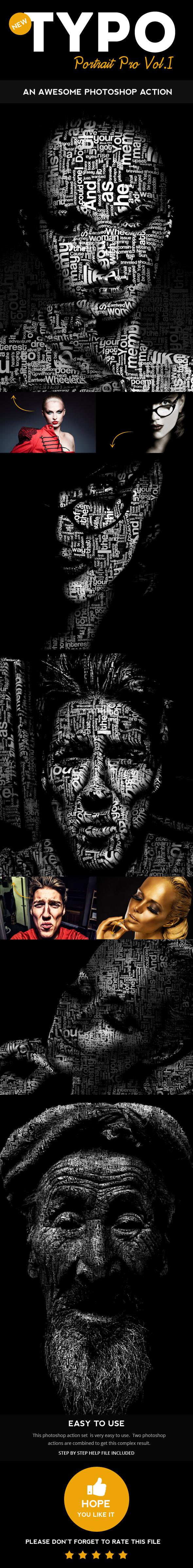 GraphicRiver Typo Portrait Pro Photoshop Action 10777433