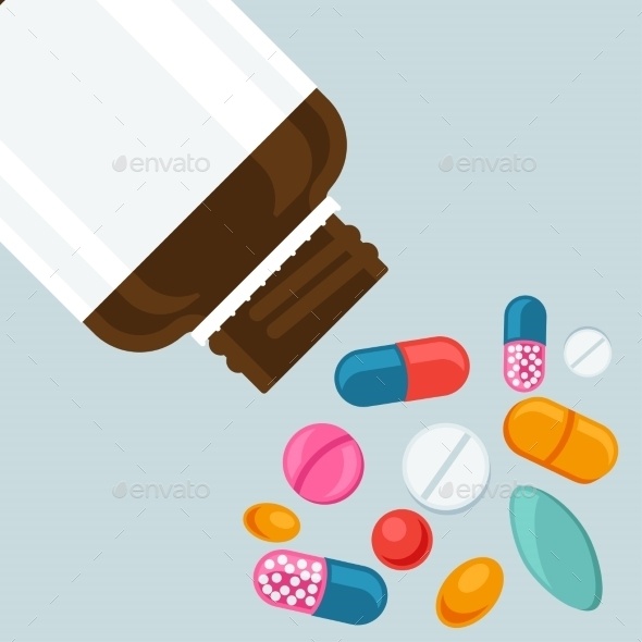 GraphicRiver Pill Bottle with Various Pills and Capsules 10778737