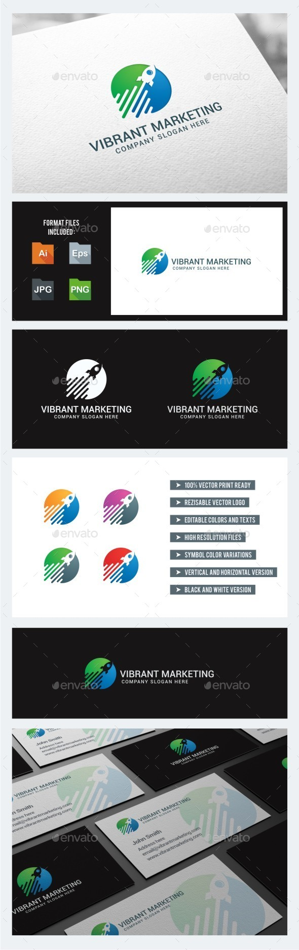 GraphicRiver Vibrant Marketing Rocket Logo Template 10779523