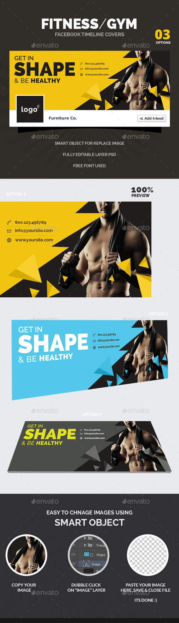 GraphicRiver Fitness Gym Facebook Timeline Covers 10779877
