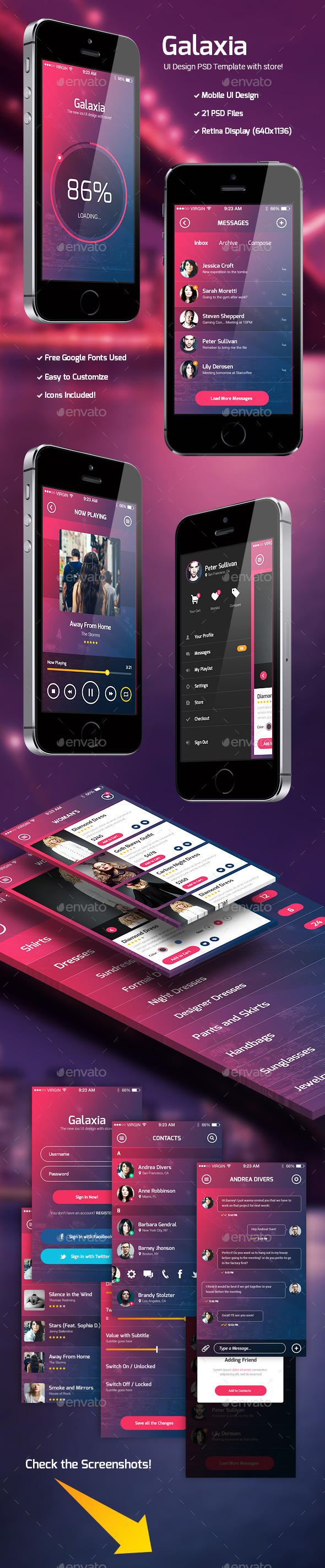 GraphicRiver Galaxia PSD UI Template with Store 10780026