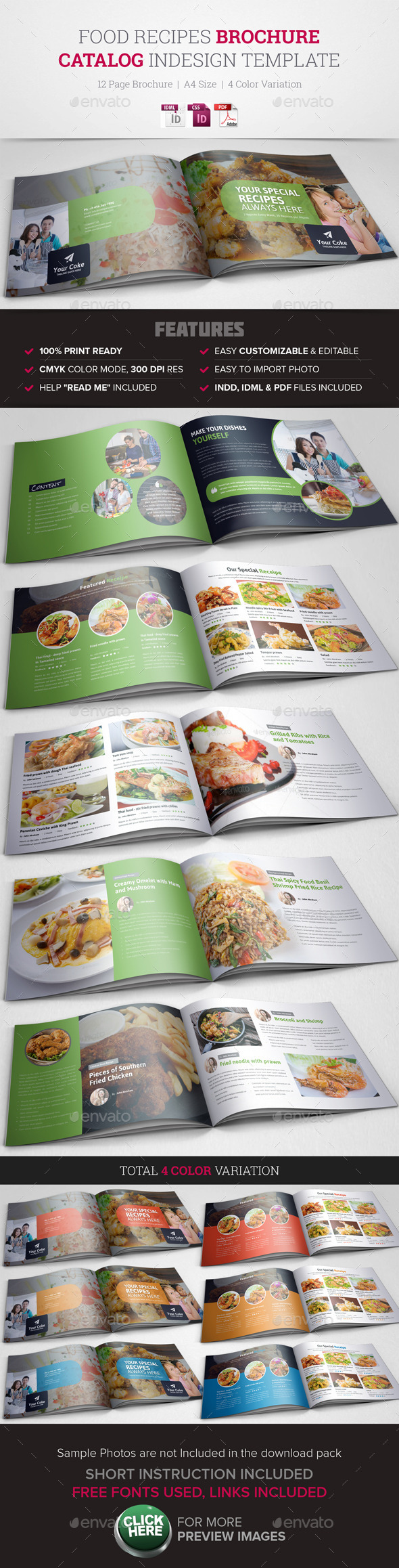 GraphicRiver Food Recipes InDesign Brochure Catalog 10780127