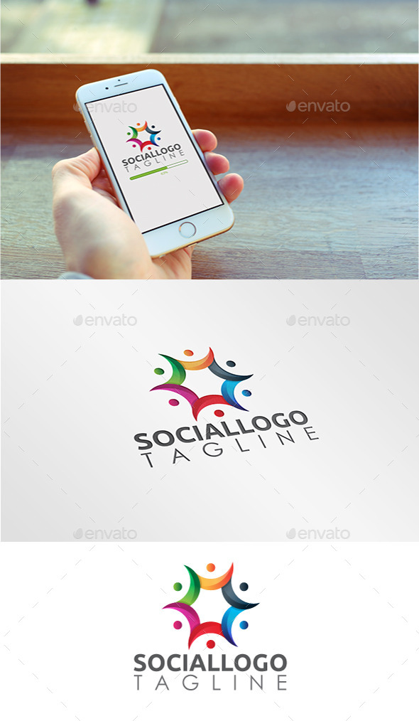 GraphicRiver Team Social Colorful Logo 10780273
