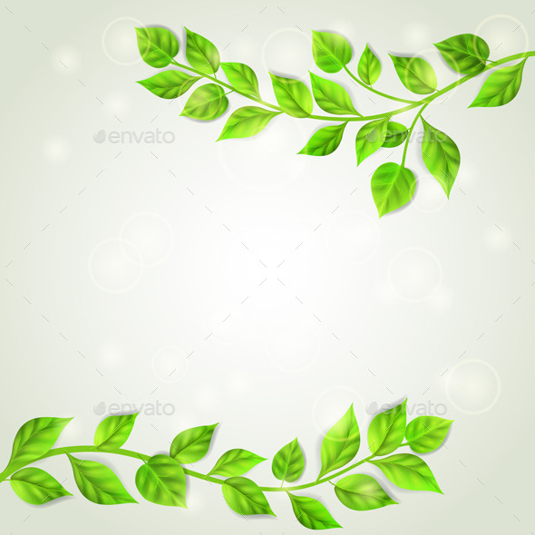 GraphicRiver Two Branches With Green Leaves 10780599