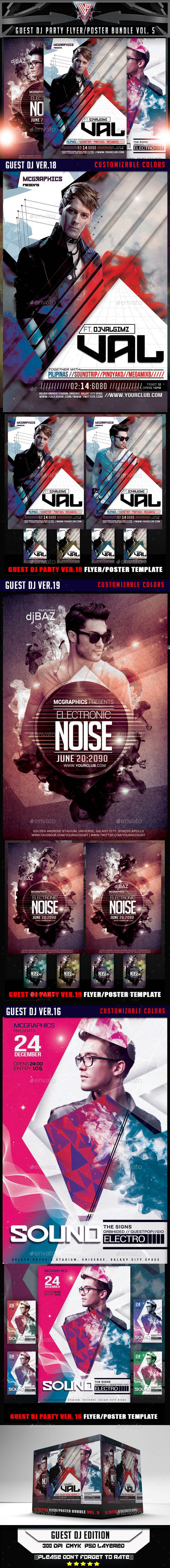 GraphicRiver Guest DJ Party Flyer Poster Bundle Vol.5 10781676