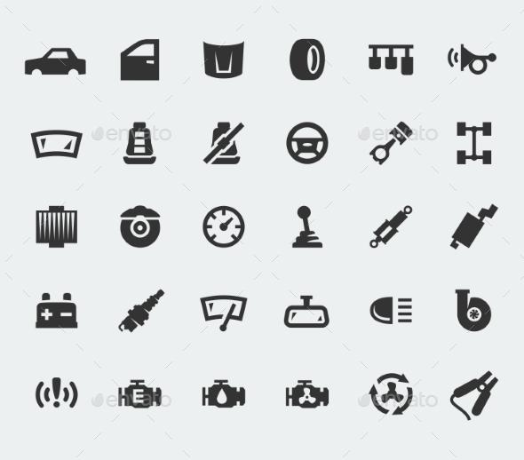 GraphicRiver Car Parts Large Icons Set 10781841