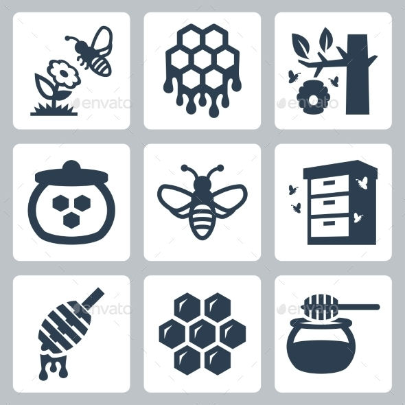 GraphicRiver Honey related vector icons set 10781903