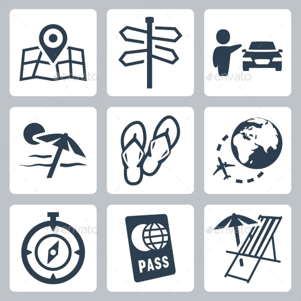 GraphicRiver Travel related vector icons set 10781943