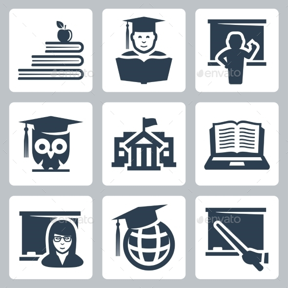 GraphicRiver Higher education vector icons set 10781949