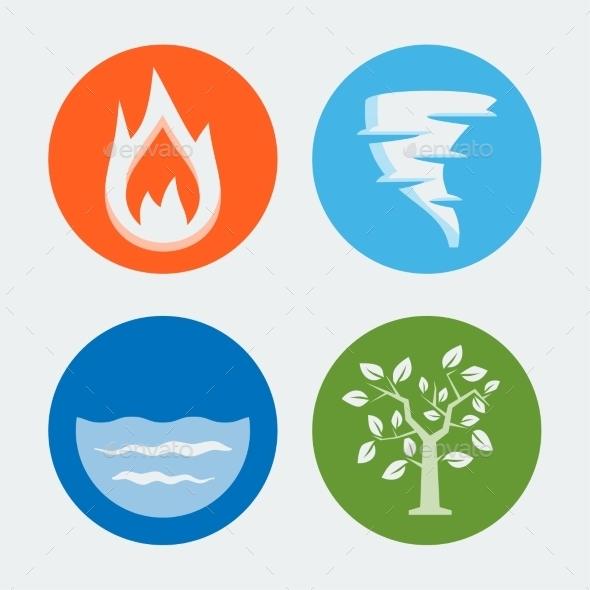 GraphicRiver Four Elements Vector Icons Set #1 10781951