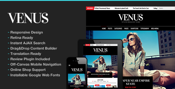 Venus Responsive News Magazine Blog Theme - News / Editorial Blog / Magazine