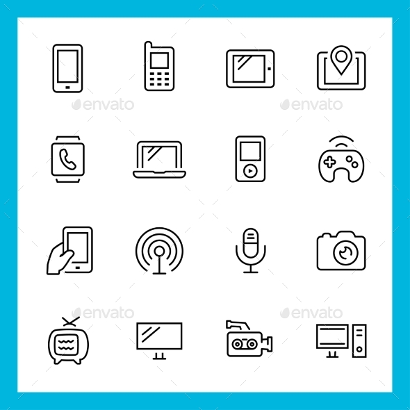 GraphicRiver Devices and Technology Vector Thin Line Icon Set 10781980