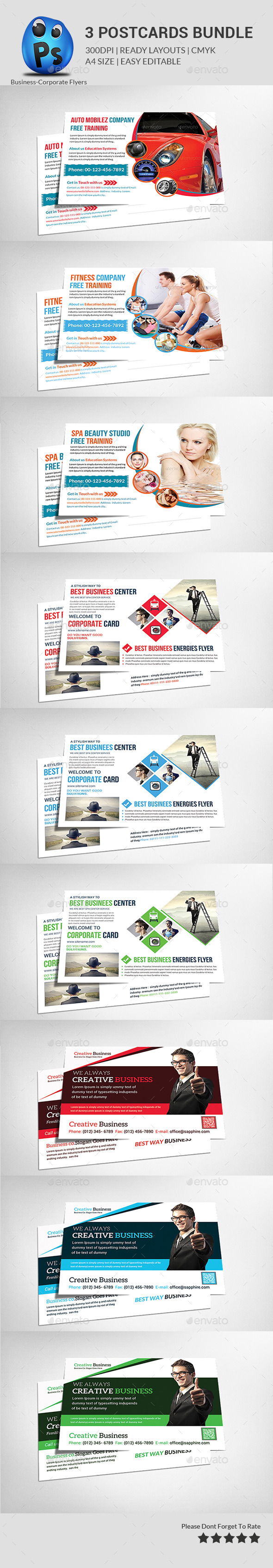 GraphicRiver Postcard Print Templates Bundle 10782612