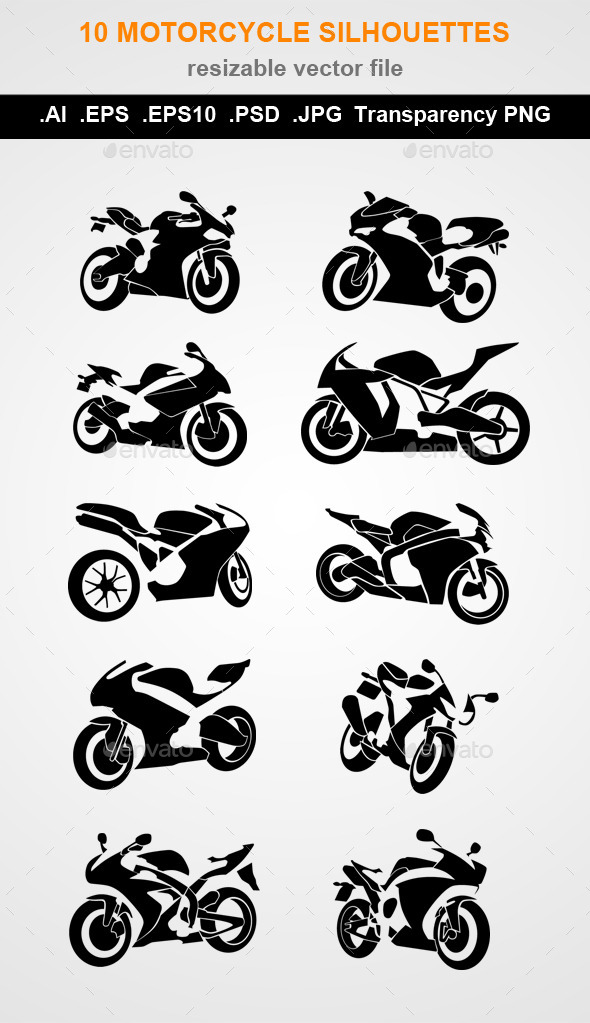 GraphicRiver 10 Motorcycle Silhouettes 10783038