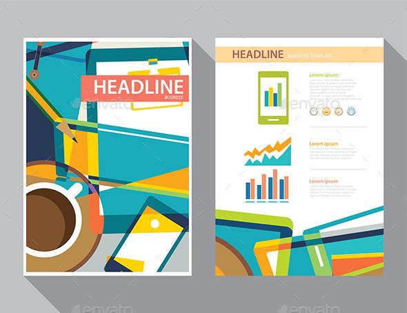 GraphicRiver Set of Magazine Cover Flyer Brochure Flat Design 10783085