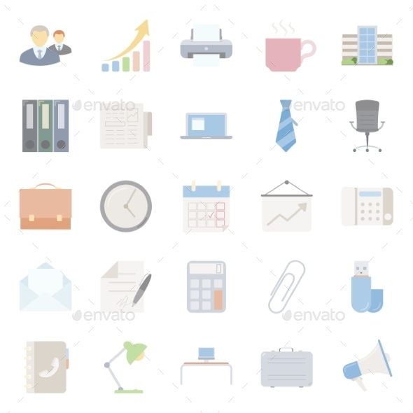 GraphicRiver Office and Marketing Flat Icons Set 10783154