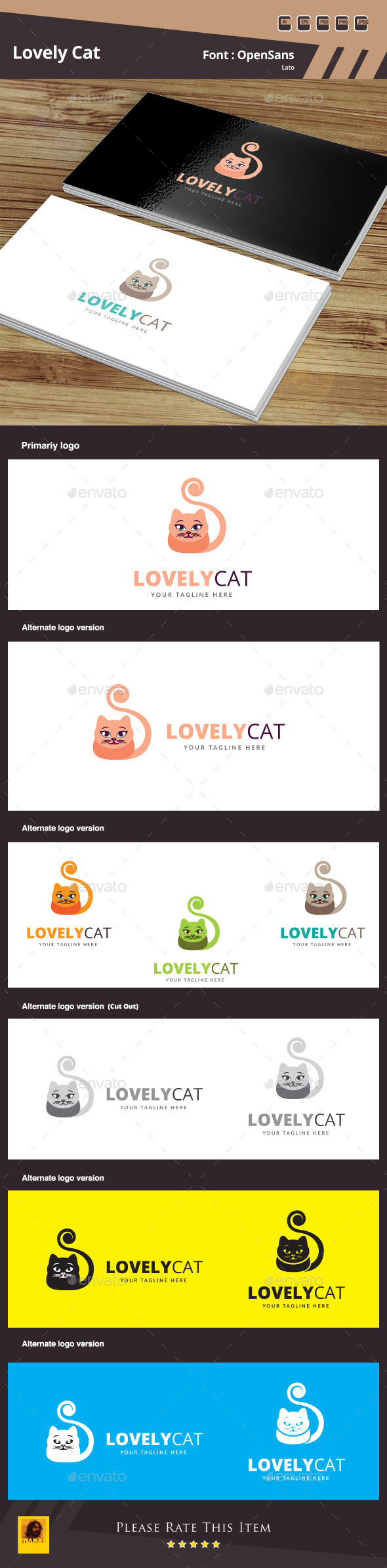 GraphicRiver Lovely Cat Logo Template 10783232
