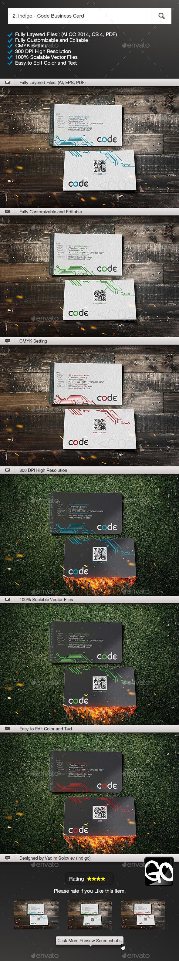GraphicRiver 2 Indigo Code Business Card 10783252