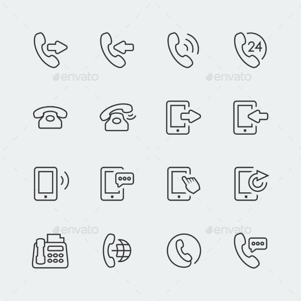 GraphicRiver Vector phone and communication mini icons set 10783399